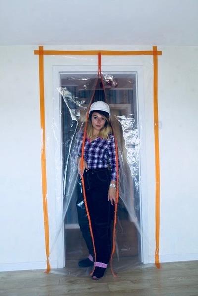 Drzwi foliowe przeciwpyłowe z zamkiem błyskawicznym, drzwi remontowe, kurtyna przeciwpyłowa 120x230cm